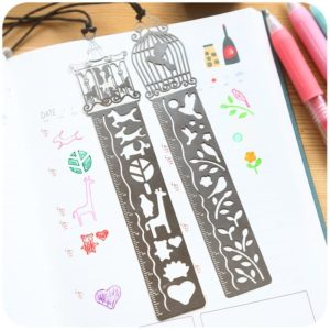 3-in-1 metal ruler bookmark stencil 3