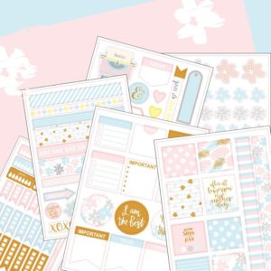 Get It Together, Baby Pale blue, pink and gold - 6 sheets planner stickers nz 8