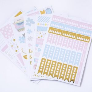 Get It Together, Baby Pale blue, pink and gold - 6 sheets planner stickers nz 7