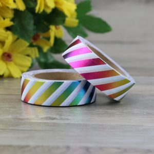 Rainbow Metallic Stripes Foil Washi Tape NZ Feature