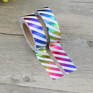 Rainbow Metallic Stripes Foil Washi Tape NZ 1
