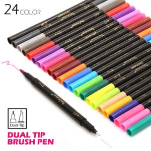 24 Colors Fineliner and Brush Twin Tip Marker Set 2