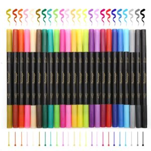 24 Colors Fineliners and Brush Pens NZ Twin Tip Marker Set 3