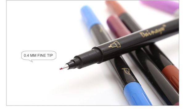 24 Colors Fineliner and Brush Pens NZ Twin Tip Marker Set Fineliner