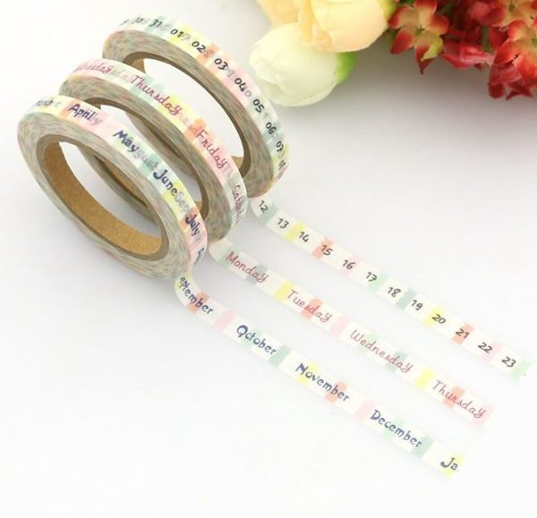 day month date week calendar spread medium washi tape NZ pack of three
