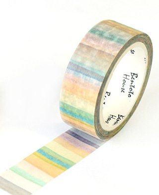 Medium washi Tape nz main pic Natural Watercolour stripes