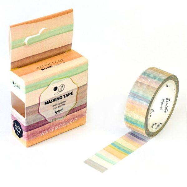 Medium washi Tape nz Natural Watercolour stripes