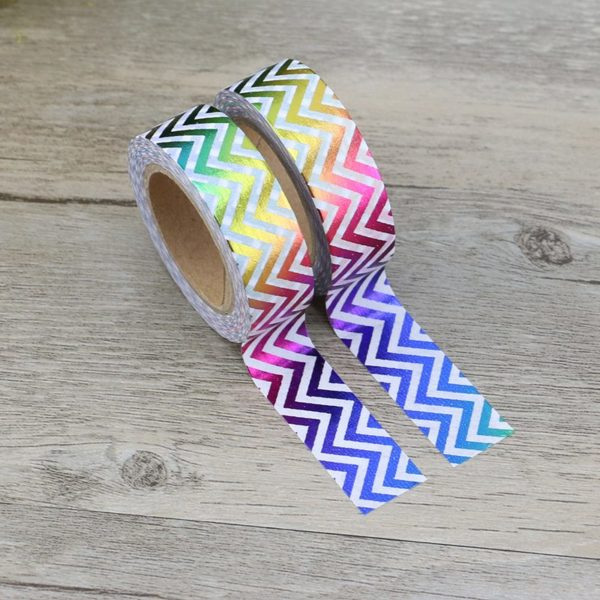 Rainbow Metallic Chevron Medium Washi Tape NZ 1