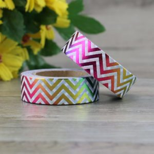 Rainbow Metallic Chevron Medium Washi Tape NZ 2
