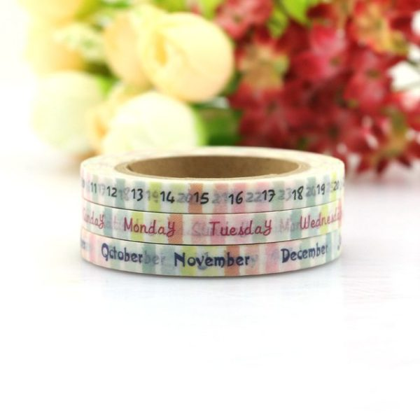 day month date week calendar spread medium washi tape NZ pack of three collection 4