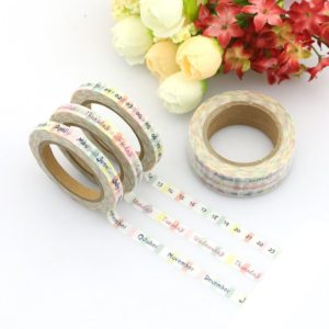 day month date week calendar spread medium washi tape NZ pack of three collection 2