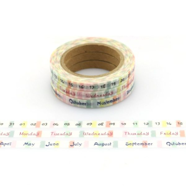 day month date week calendar spread medium washi tape NZ pack of three collection