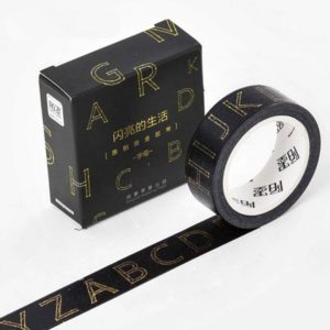 Black & Gold Foil Washi Tape NZ letters JJ-W-188