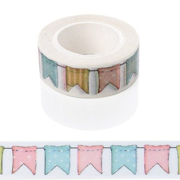 MEdium Washi Tape NZ Pink, Blue and Green Bunting JJ-W-111