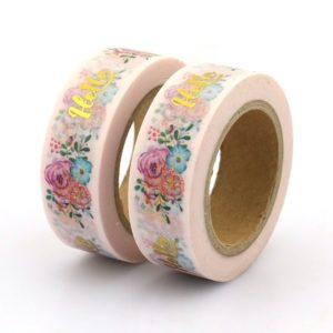 medium washi tape bullet journal NZ foil golden flowers