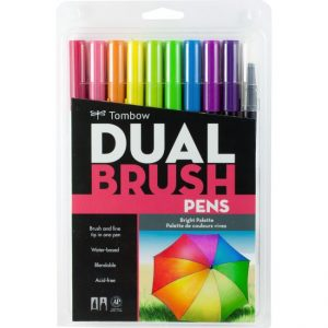 Tombow dual brush pens bright 10 pack bullet journal new zealand