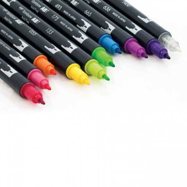 Tombow dual brush pens brights dual tip 10 pack fine tip