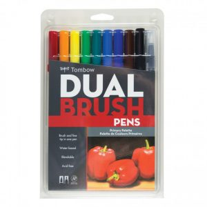 Tombow dual brush pens primary dual tip 10 pack