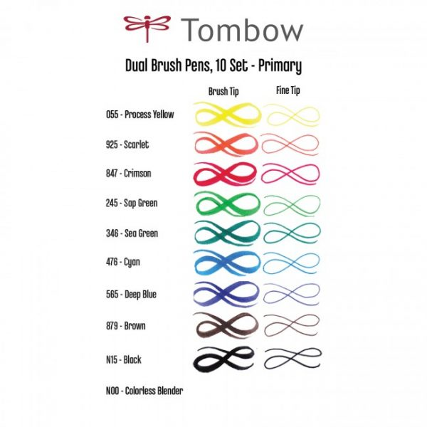 Tombow dual brush pens primary dual tip 10 pack colour swatch