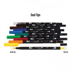 Tombow dual brush pens primary dual tip 10 pack dual tips