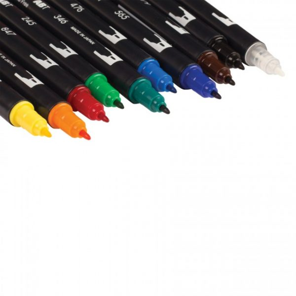 Tombow dual brush pens primary dual tip 10 pack marker tip