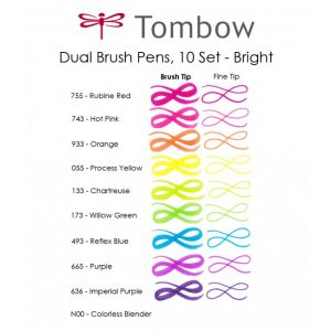 tombow dual brush pens bright 10 pack bullet journal new zealand colour swatch