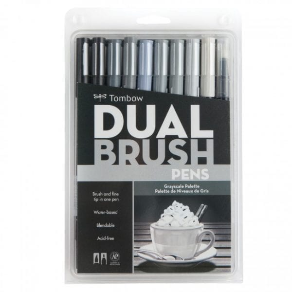 Tombow Dual Brush Pen Greyscale Pack nz bullet journal handlettering