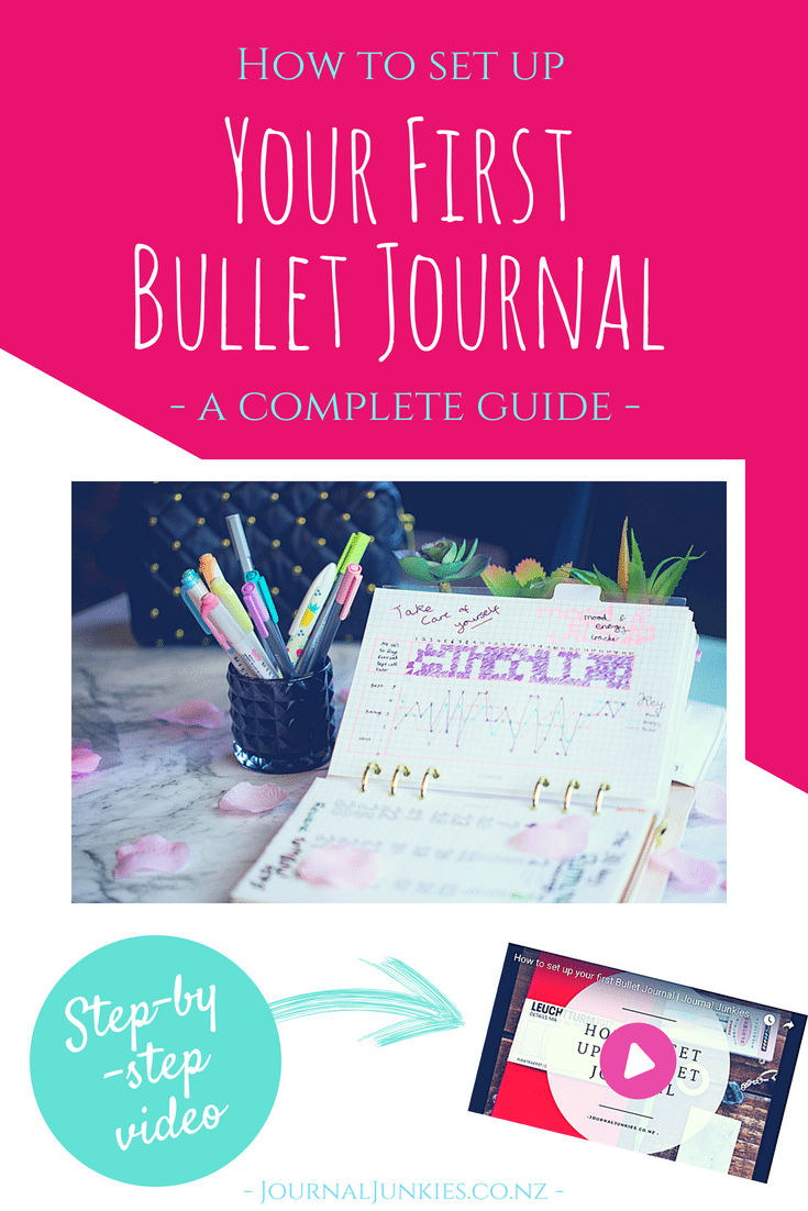 How to set up your first bullet journal - a complete guide. https://journaljunkies.co.nz/bullet-journal-101/ #bulletjournal #bulletjournallayout #bulletjournalspread #organisation #planner