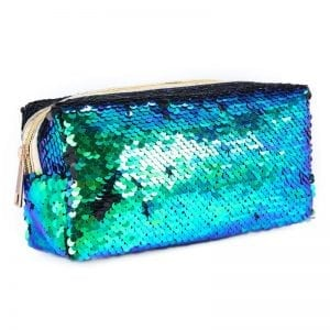 Sequins sparkle pencil cases cute stationery new zealand aqua cover