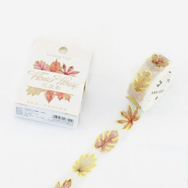 Medium foil washi tape limited edition for Bullet Journal Spreads golden leaves