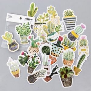 Prickly Plantings decorative scrapbook bullet journal sticker pack