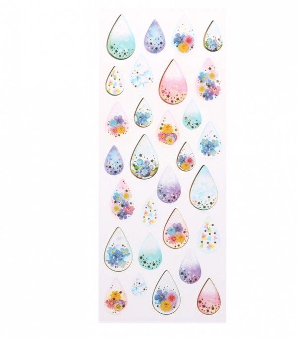 Floral raindrops decorative planner stickers new zealand