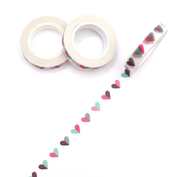 happy hearts thin washi tape for your bullet journal new zealand