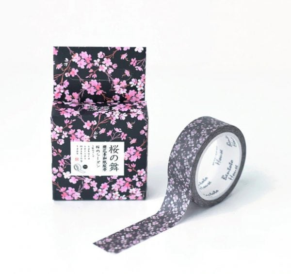 midnight blossom medium floral washi tape