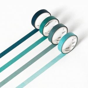 aqua colour gradient thin washi set