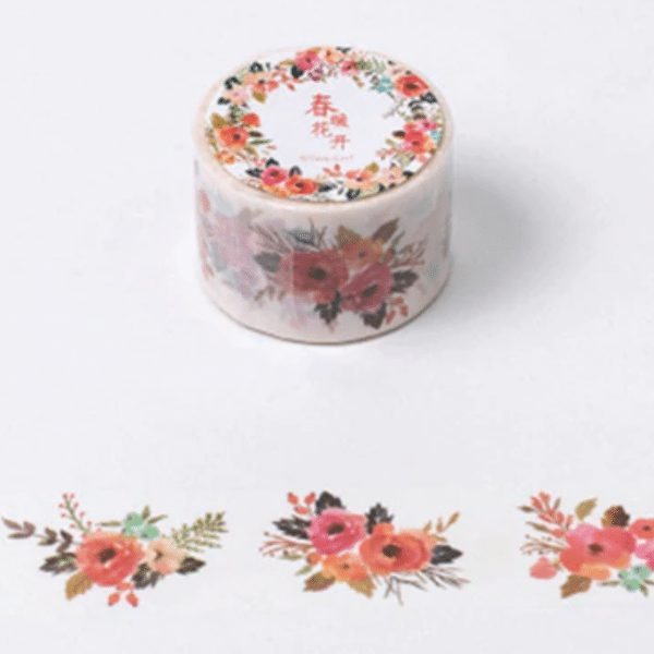 Warm Floral Accents Wide Washi Tape rustic bullet journal
