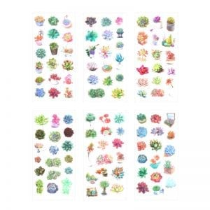 Spring Succulents plants bullet journal planner stickers decorative sheets 3