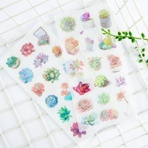 Spring Succulents plants bullet journal planner stickers decorative sheets