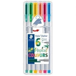 Staedtler triplus fineliner set tropical pack colours