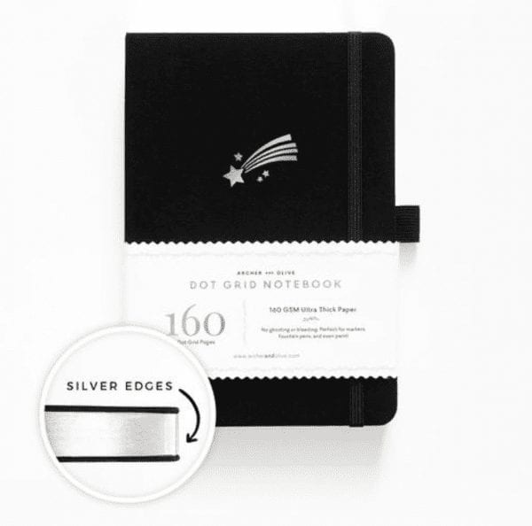 Archer and Olive shooting star dotted notebook for bullet journalling