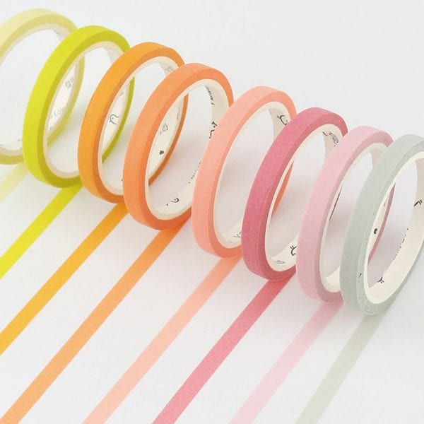 Thin solid colour plain washi tape for bullet journal borders nz buy