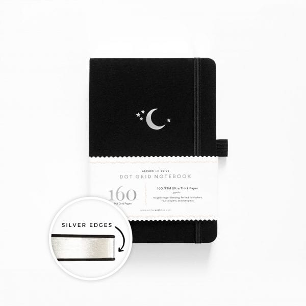 archer and olive dotted bullet journal notebook crescent moon
