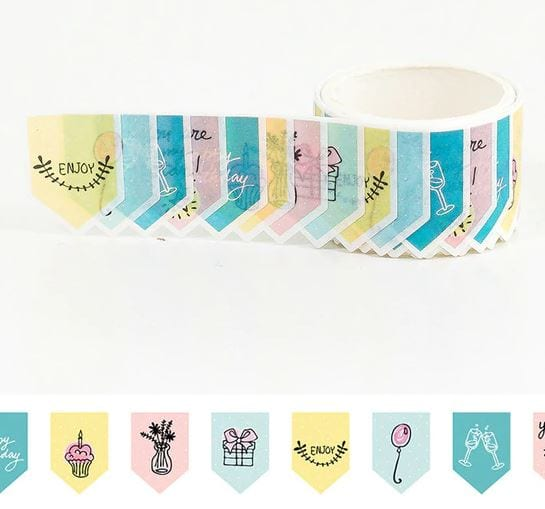 party bunting washi tape stickers bullet journal decoration