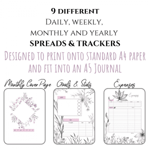 PDF Rustic jungle bullet journal printable pdf download for A5 A4 9 spreads