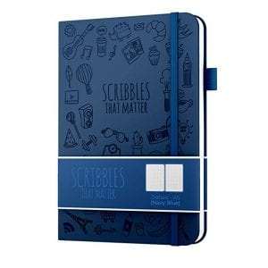 Iconic scribbles that matter A5 dotted notebook australia navy blue