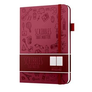 Iconic scribbles that matter A5 dotted notebook australia new zealand burgandy