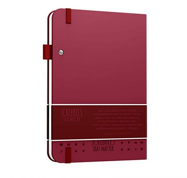 Scribbles that matter dotted notebook for bullet journals NZ aus burgundy colour backside