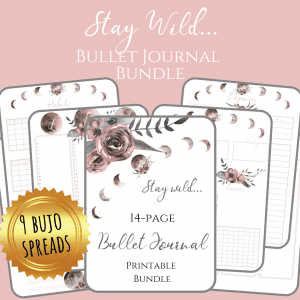 Stay Wild Download Bullet Journal PDF printable for planner, calendar - A4 and A5