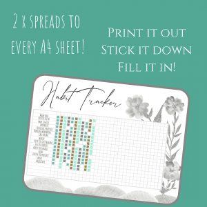 Fresh Starts black and white bundle printable bullet journal layouts habit tracker