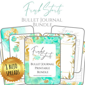 Fresh Starts Bullet Journal printable download A4 for A5 PDF cover